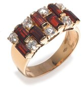 Tatitoto Gioie Women's Ring in 18k Gold with Garnet and White Cubic Zirconia, Size 8, 6.2 Grams