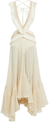 PatBO Fringed Cut-Out Maxi Dress