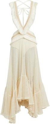 PatBO Fringed Cut-Out Maxi Dress