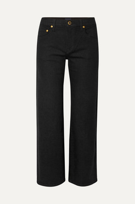 KHAITE Wendell Cropped High-rise Wide-leg Jeans - Black