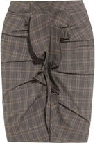 Etoile Isabel Marant Noora Ruffled Plaid Stretch-cotton Skirt - Anthracite