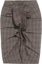Etoile Isabel Marant Noora Ruffled Plaid Stretch-cotton Skirt