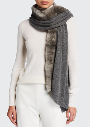 Agnona Cashmere Scarf with Fur Trim