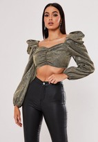 Missguided Petite Gold Glitter Puff Sleeve Ruched Front Crop Top