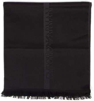 Emporio Armani Asphalt Color Wool Logo Scarf