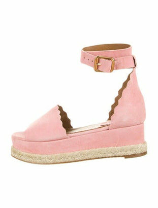 Chloé Lauren Platform Espadrilles Pink