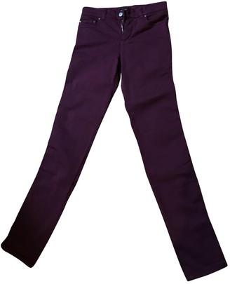 agnès b. \N Burgundy Cotton - elasthane Jeans for Women