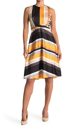 London Times Striped Waist Tie Dress