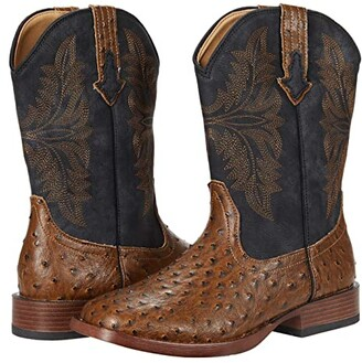 Roper Bumps (Brown Faux Leather/Ostrich Print Vamp Chocolate) Cowboy Boots