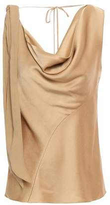 Roberto Cavalli Georgette-paneled Draped Knotted Gathered Satin-crepe Blouse