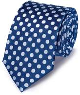 Royal and White Silk Large Spot Classic Tie by Charles Tyrwhitt