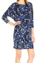 Nine West Blue Women's Size 16 Blouson Jersey Abstract Ruched Dress