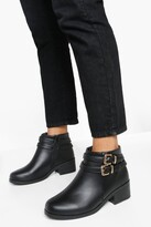boohoo Wide Fit Double Buckle Chelsea Boots