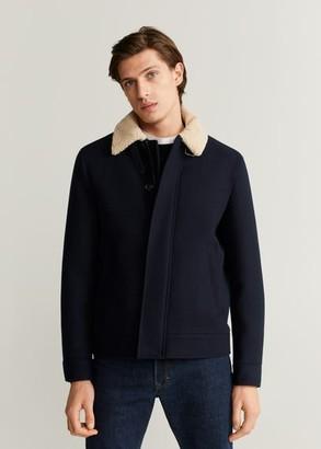 MANGO MAN - Faux-shearling collar wool jacket dark navy - XXL - Men
