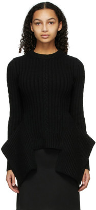 Alexander McQueen Black Cable Knit Engineered Peplum Sweater