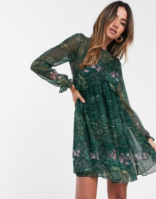 Ted Baker Sorella diamond print long sleeve babydoll dress-Green