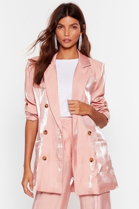Nasty Gal Womens Outshine 'Em Satin Double Breasted Blazer - Pink - 8