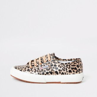 Superga River Island Womens Gold leopard print runner trainers