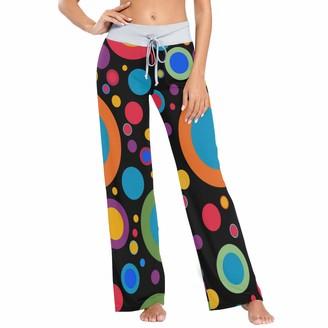 Colormu Womens Pj Pants Sleep Pants Long Athletic Wide Leg Pants Color Sandwich Circle