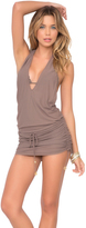 Luli Fama Cosita Buena Cover Ups T-Back Mini Dress In Sandy Toes (L177979)
