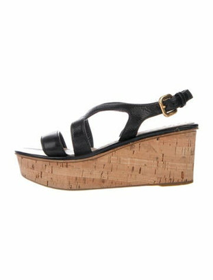 Prada Leather Slingback Sandals Black