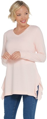 H by Halston French Terry V-Neck Tunic with Ruffle Detail