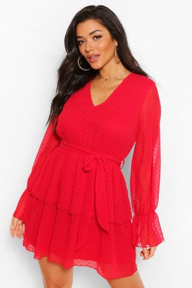 boohoo Dobby Mesh V Neck Tiered Skater Dress