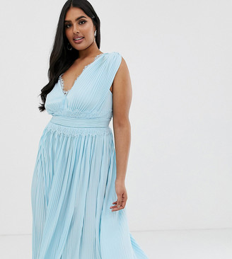ASOS DESIGN Curve Premium Lace Insert Pleated Midi Dress