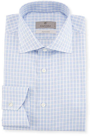 Canali Bold Check Dress Shirt, Blue