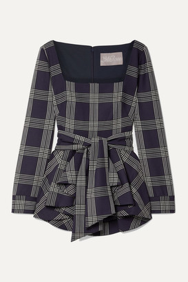 Lela Rose Belted Checked Woven Peplum Blouse - Navy
