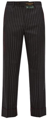 Gucci Stitched-edge Pinstripe Wool Trousers - Mens - Dark Grey