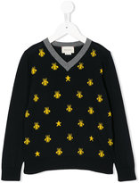 Gucci Kids insects pattern V-neck jumper