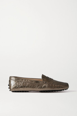 Tod's Gommino Metallic Cracked-leather Loafers