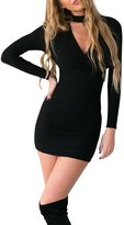 Simplee Apparel Women's Long Sleeve Halter V Neck Ribbed Knit Sweater