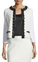 St. John Beaded Embossed-Knit 3/4-Sleeve Jacket, Frost/Caviar