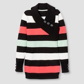 Say What Girls' Long Sleeve Striped Tunic - Coral/ Mint