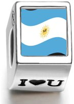 Soufeel 925 Sterling A Rgentina Flag Photo I Love U European Charms Fit European Bracelets