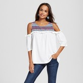 Simply by Love Scarlett Women's Off the Shoulder Mixed Media Printed Blouse