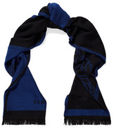 Versace Fringed-Trimmed Intarsia Wool Scarf