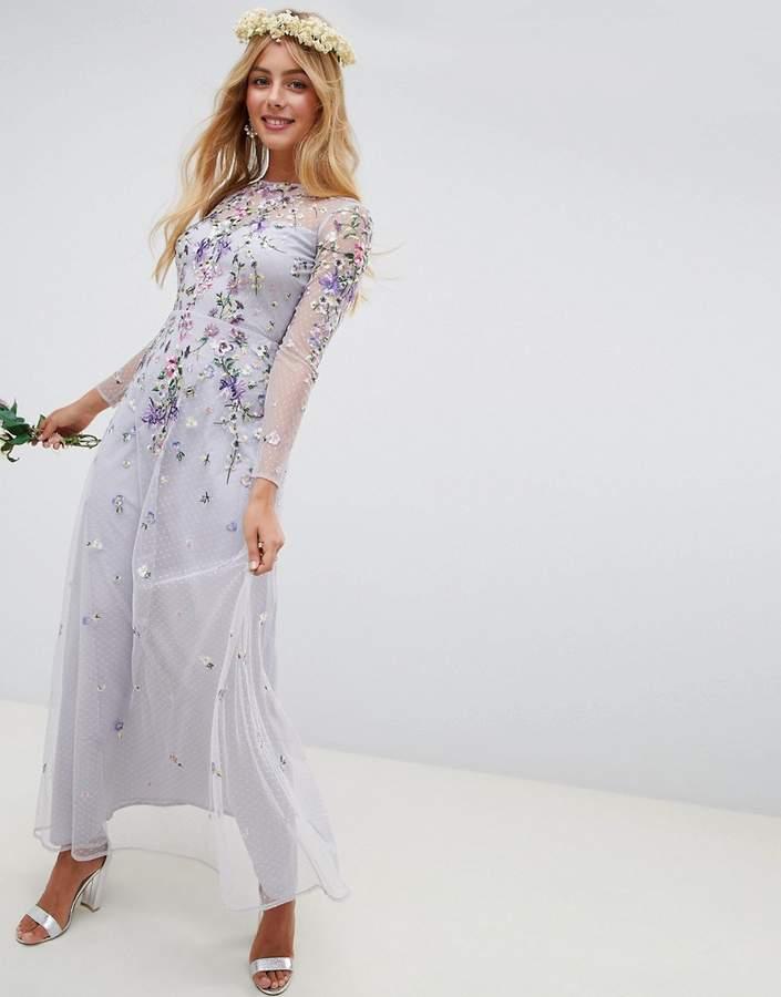Asos Design DESIGN long sleeve pretty embroidered maxi dress