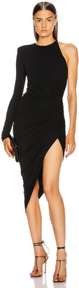 Alexandre Vauthier One Shoulder Asymmetric Dress in Black | FWRD
