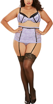 Dreamgirl Lavender & Black Lace Bra & Garter Skirt Set - Plus