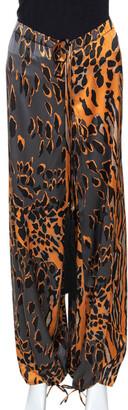 Roberto Cavalli Orange & Graphite Leopard Printed Silk Pants M