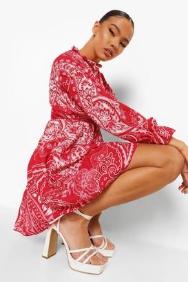 boohoo Paisley Print Tired Smock Dress