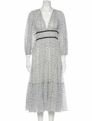 Ulla Johnson Floral Print Midi Length Dress White
