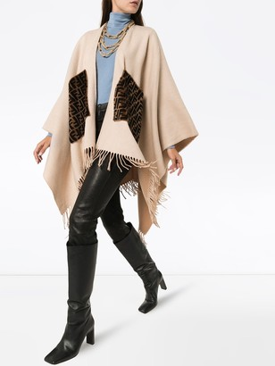 Fendi Fringed Logo Cashmere And Wool Poncho