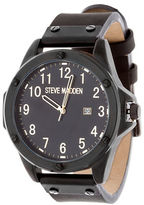 Steve Madden Alloy and Leather Strap Watch