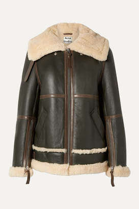 Acne Studios Raf Long Leather-trimmed Shearling Jacket - Army green