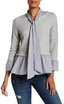 MELLODAY Knit Contrast Woven Stripe Shirt