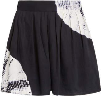 Anaak Annex Tie-Dye Pleated Sateen Shorts